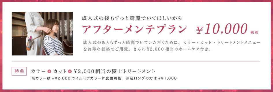 成人式の後もずっと綺麗でいてほしいからアフターメンテプラン¥10,000成人式のあともずっと綺麗でいていただくために、カラー・カット・トリートメントメニューをお得な価格でご用意。さらに¥2,000相当のホームケア付き。【特典】カラー+カット+¥2,000相当の極上トリートメント ※カラーは+¥2,000でイルミナカラーに変更可能 ※超ロングの方は+¥1,000